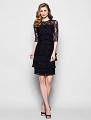 Lanting Bride® Knee-length Chiffon / Lace Bridesmaid Dress - Sheath / Column Jewel Plus Size / Petite with Lace