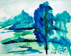 Blue Tree Landscape Painting Original Artwork Original Artwork, Original Paintings, Tree Watercolor Painting, Summer Of Love, Landscape Paintings, Arts And Crafts, Colours, Activities, The Originals