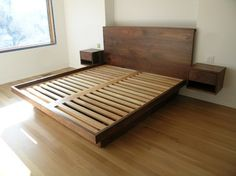 Platform Bed with Drawers - contemporary - beds - toronto - Akroyd Furniture extend end for bench, round the corners, add long drawer under bed on both sides. then you just need simple desk & rolling table that can stay under t.v., or roll over bed to use as tv tray.