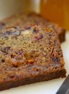 Persimmon bread. This turned out so well! I used half baker's sugar and half light brown sugar. I also added chopped dried cherries and cinnamon chips. This is a GREAT recipe. Also, I only have Fuyu persimmons and it was PLENTY sweet.