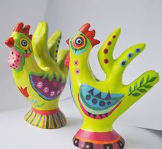 Handpainted Clay Rooster Whistle by DecoEcoShop on Etsy