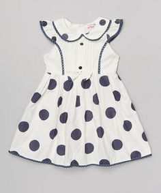 This White & Black Polka Dot Peter Pan Collar Dress - Toddler & Girls by Di Vani is perfect! #zulilyfinds
