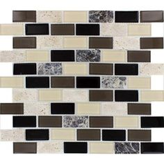 For my kitchen:) MS International Citadel Blend 12 in. x 12 in. x 8 mm Glass Stone Mesh-Mounted Mosaic Tile-SGLS-CBB6MM at The Home Depot.