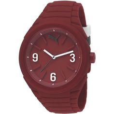 Puma Unisex Gummy Red Watch PU103592005 ($64) ❤ liked on Polyvore featuring jewelry, watches, red wrist watch, red jewelry, unisex jewelry, red watches and water resistant watches