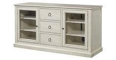 This media cabinet is crafted of maple with clear glass cabinet doors and black steel hardware. It's multiple drawers and adjustable shelves offer a wealth of space for all of your media...