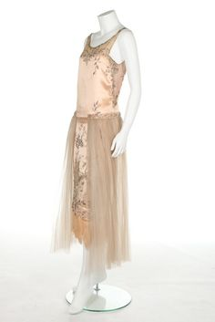 A couture beaded satin gown, possibly Patou, circa 1922-4