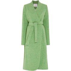 Mark Kenly Domino Tan Tundra Coat ($1,015) ❤ liked on Polyvore featuring outerwear, coats, coats & jackets, jackets, wrap coats, long sleeve coat, long green coat, boucle coats and collarless boucle coat
