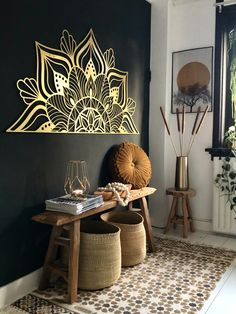 Adding a pop of color, like this glowing sun-like gold, to a room can immediately make the area feel brighter and livelier and, fortunately, it is one of the easiest changes a person can make.🌞 #hoagard Photo by Irene Burg Gold Metal Wall Art, Metal Walls, Wall Design, House Design, Modern Art Deco, Bedroom Wall, Decoration, Home Art, Office Decor