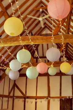 Hanging coloured paper lanterns on a fairy or pea light canopy is a personal touch at your wedding