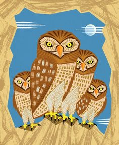 iOTA iLLUSTRATION  How Many Owls  Set of 5  by iotaillustration, $70.00