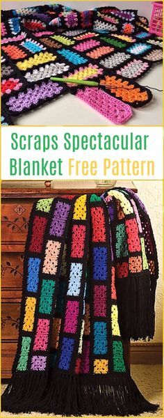 Crochet Scraps Spectacular Blanket Free Pattern - Crochet Block Blanket Free Patterns