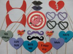 Anti Valentine's Day Photo Booth Props Another one Patton day decorations photo booths PDF - ANTI-Valentine's Day photo booth props/decorations/craft - printable DIY Hate Valentines Day, Valentines Day Photos, Diy Valentine, Valentine Backdrop, Valentine Decorations, Photos Booth, Photo Booth Props, Heart Party, Crafts For Teens