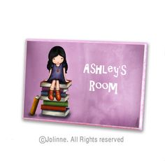 Etsy Transaction - Personalized initial door hanger sign for kids room, children room sign, book lovers sign , bibliophile, library, reading