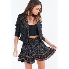 Ecote Adalina Mini Skirt ($69) ❤ liked on Polyvore featuring skirts, mini skirts, flared skirt, flare skirt, high waisted mini skirt, flared skater skirt and short skirts