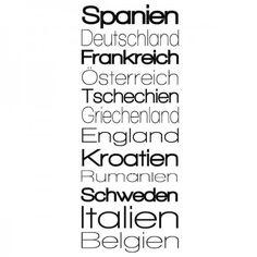 Du wolltest schon einmal ein Europareise machen? Dann hast du mit diesem Banner passende Inspiration wo du anfangen könntest. #Europa #Land #Banner #Wadeco // http://www.wadeco.de/banner-europa-laender-wandtattoo.html