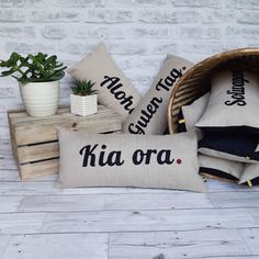 Excited to share the latest addition to my #etsy shop: Kia ora nz cushion, new zealand cushion, travel inspired cushion, nz wanderlust cushion, new zealand word, personalised cushion gift