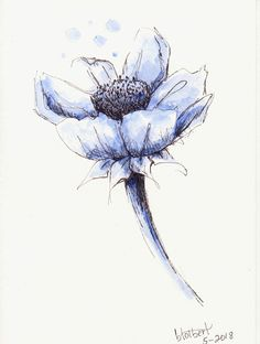 """Original artwork of an elegant blue flower with blue eaves and stem rendered in pen, ink and watercolor. It is titled """"One Color Blue"""" and is signed and dated at the bottom with the title on the back. The watercolor is painted in monotones of blue with light blue round bubble"""