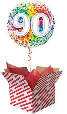 Rainbow Confetti 90th Birthday Balloon Gift