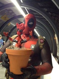 If Only This Baby Deadpool-Groot Had Some Pancakes, Then It Would Be Perfect [Cosplay]