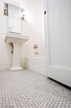 "Bathroom floor tile: hampton carrera 2"" hexagon tile"