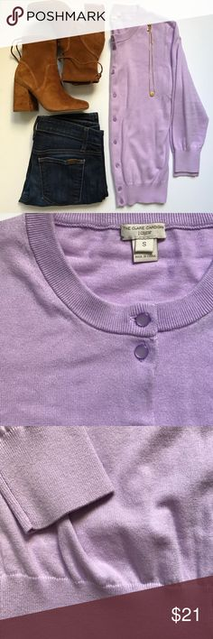 J.Crew Claire Cardigan Lavender Beautiful lavender 3/4 sleeve, round neckline, button up cardigan. 100% cotton, machine wash gentle, dry flat. Pre-loved. In excellent condition, no visible wear, no pilling. 💕 J. Crew Sweaters Cardigans