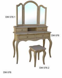 tavolo beauty in mogano con pouf sofia crema - 102x155x44 cm | for ... - Mobile Specchio Make Up