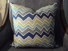 18x18 Chevron Throw Pillow-Grey, Navy, Green & Light Blue- Front and Back Pattern. $11.00, via Etsy.
