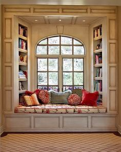 book, bookshelf, window, windowseat, vintage, plush, comfy