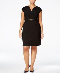 Calvin Klein Plus Size Belted Shift Dress