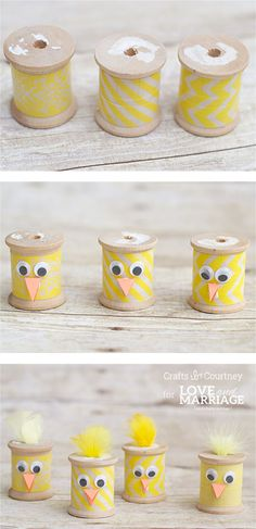 Easter Chick Craft from Thread Spools - Make these thread spool Easter chicks f. Easter Chick Craft from Thread Spools – Make these thread spool Easter chicks for a super easy Spring craft for kids Easter Crafts For Adults, Arts And Crafts For Adults, Crafts For Teens To Make, Easy Arts And Crafts, Crafts For Seniors, Spring Crafts For Kids, Wooden Spool Crafts, Wooden Spools, Arts And Crafts Interiors