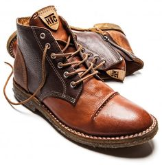 Brown Caramel Leather Suede Desert Boot with Spats. Hollywood Trading Company. Men's Fall winter Fashion.
