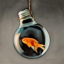 Lauren Pretorius Original Art Realism Fun Oil Painting Goldfish Light Bulb # 13 $117.50 PLUS S&H EBAY