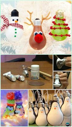 DIY Light Bulb Christmas Ornament Instruction- DIY #Christmas #Ornament Craft Ideas For Kids