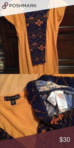 Lularoe OS leggings with small top EUC Aztec leggings mustard & navy with size small mustard Maurices top. So cute! Leggings have the original elastic waist band. LuLaRoe Other