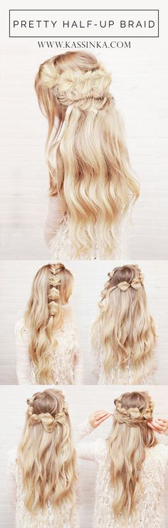 Pretty Half-up Hair Tutorial (Kassinka) Pretty Half-up Hair Tutorial (Kassinka),Clara Your hair is your best accessory. I am back with another hair tutorial to help you always feel your best & look amazing. Braided Hairstyles For Wedding, Braided Hairstyles Tutorials, Up Hairstyles, Pretty Hairstyles, Amazing Hairstyles, Perfect Hairstyle, Braid Hair Tutorials, Toddler Hairstyles, Everyday Hairstyles