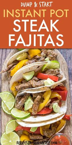 recipe for Instant Pot Steak Fajitas is a quick easy dump and start recipe! Made with only 6 simple ingredients, so it's perfect for busy weeknight dinners. Instant Pot Fajitas are full of amazing Tex- Mex flavor. Click though to get this awesome recipe! Best Instant Pot Recipe, Instant Pot Dinner Recipes, Easy Dinner Recipes, Appetizer Recipes, Instant Recipes, Steak Fajitas, Steak Fajita Recipe, Recipe Marinade, Pressure Cooker Steak