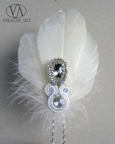 bridal headdress hair with Swarovski crystals and feathers