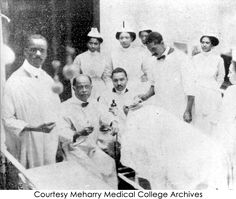 Dr. Charles V. Roman and his staff prepare for the first operation performed at George W. Hubbard Hospital, 1910.