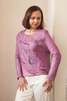 Кофты и свитера ручной работы. Свитшот свитер валяный. Анастасия Сергеева. Интернет-магазин Ярмарка Мастеров. Свитшот, свитшот женский