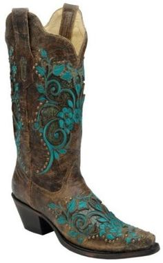 Corral Turquoise Inlay Studded & Embroidered Cowgirl Boots - Snip Toe - Sheplers by DawnJonesMcCoy