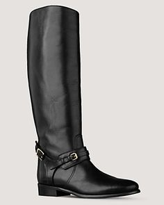 """Burberry Bridle Leather Flat Boots  PRICE: $795.00  The classic riding boot, rendered in luxurious leather. By Burberry.  Leather upper, leather lining, leather sole. Imported.  Gold buckle and strap detail  16.5"""" shaft, 14"""" leg circumference  Full and half sizes  Web ID: 548393"""