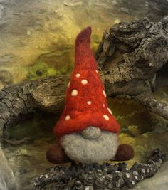 Felted mushroom gnome for Christmas, Christmas ornament
