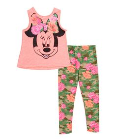 Pink Minnie Mouse Tank & Floral Leggings - Infant & Toddler | zulily