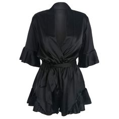 Black Wrap V-neck Ruffle Sleeve Tie Waist Sateen Romper Playsuit (€17) ❤ liked on Polyvore featuring jumpsuits, rompers, dresses, playsuits, shorts, bodysuit, v neck romper, wrap rompers, playsuit romper and wrap romper