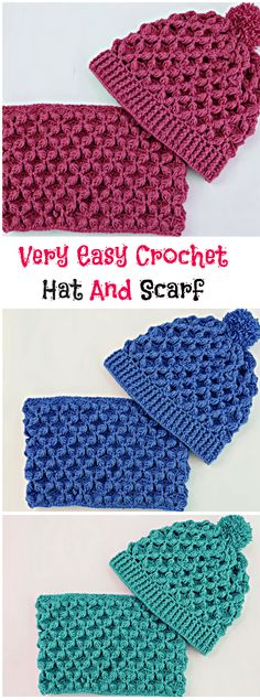 Very Easy Crochet Hat And Scarf . Free video tutorial to create this delightful hat and scarf set. Great for gifts or donations.Very Easy Crochet Hat And Scarf It is always interesting and funny to crochet scarfs and hats for yourself or for your bel Crochet Kids Scarf, Easy Crochet Hat, Bonnet Crochet, Crochet Beanie Pattern, Crochet Scarves, Crochet For Kids, Crochet Gifts, Crochet Adult Hat, Simple Crochet