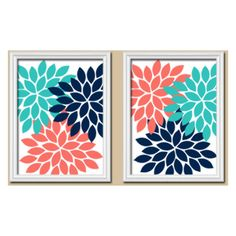 Coral Turquoise Navy Wall Art CANVAS or Prints Flower Wall Art Bedroom... ($25) ❤ liked on Polyvore featuring home, home decor, wall art, turquoise canvas wall art, turquoise home decor, canvas wall art, coral home accessories and navy blue home decor