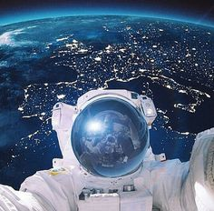 Astronaut selfie. Possibly the coolest picture ever!