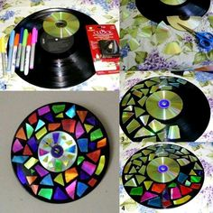 broken glass!! table top!,,,,,,,,,,,,,,,,,, unique record and cd clock