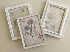 White Metal Photo Frames, Set of 3 Painted Photo Frames, Painted Picture Frames, Farmhouse Decor, Cottage Decor, Shabby Chic
