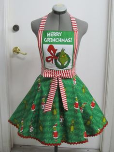 The Grinch Apron  Merry Grinchmas  Vintage by AquamarCouture